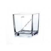 Вазон для орхидеи стеклянный прозрачный 140 на 140 мм