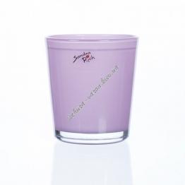 Вазон для орхидеи стеклянный розовый 135 на 125 мм